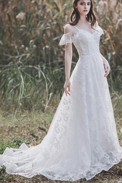 Cold-shoulder Lace Tulle A-line Wedding Dress_6
