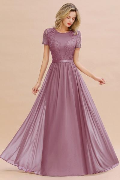 BM0831 Chiffon Lace Scoop Short Sleeve Bridesmaid Dress_43