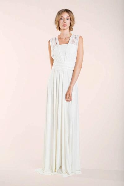 Convertible Lace Floor Length Sheath Wedding Dress_9
