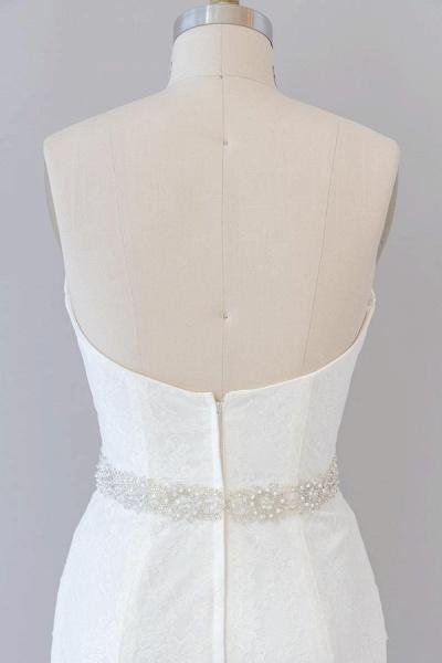 Awesome Ruffle Strapless Lace Sheath Wedding Dress_8