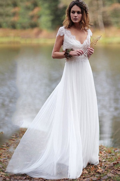 Graceful Cap Sleeve V-neck Lace Tulle Wedding Dress_1