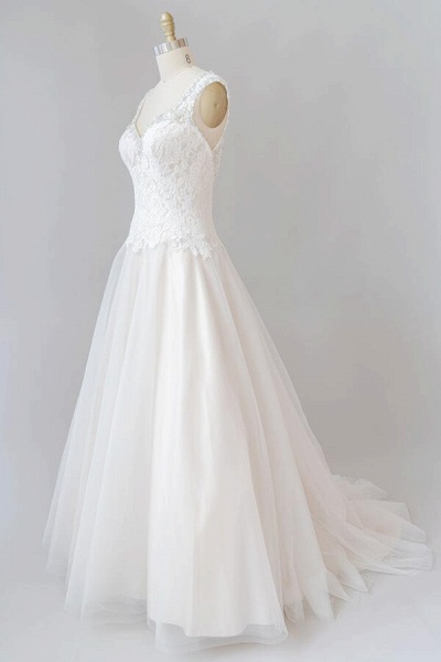 Elegant Open Back Lace Tulle A-line Wedding Dress_5
