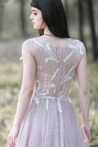 Eye-catching Cap Sleeve Lace A-line Wedding Dress_7