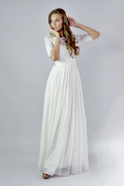 Affordable Lace Chiffon Floor Length Wedding Dress_4