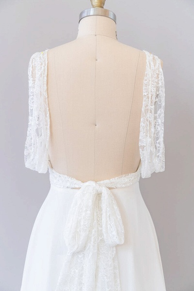 Empire V-neck Lace Chiffon A-line Wedding Dress_7