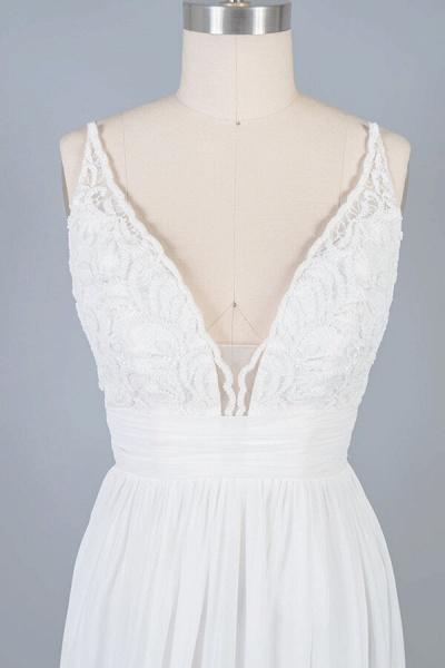 Front Slit Lace Chiffon Sheath Wedding Dress_7