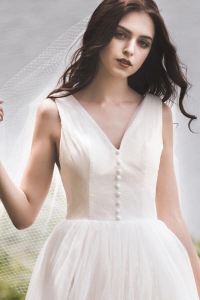 Graceful V-neck Lace Tulle A-line Wedding Dress_8