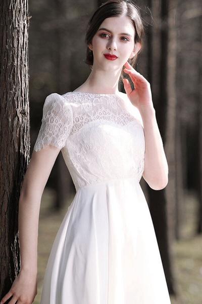 Short Sleeve Lace A-line Short Wedding Dress_9