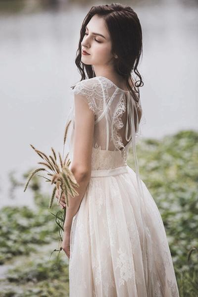 Graceful V-neck Lace A-line Wedding Dress_3