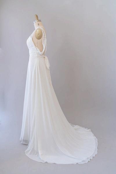 Empire V-neck Lace Chiffon A-line Wedding Dress_4