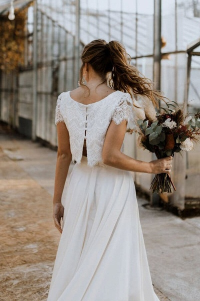 Short Sleeve Lace High Low Two Piece Wedding Dress_6