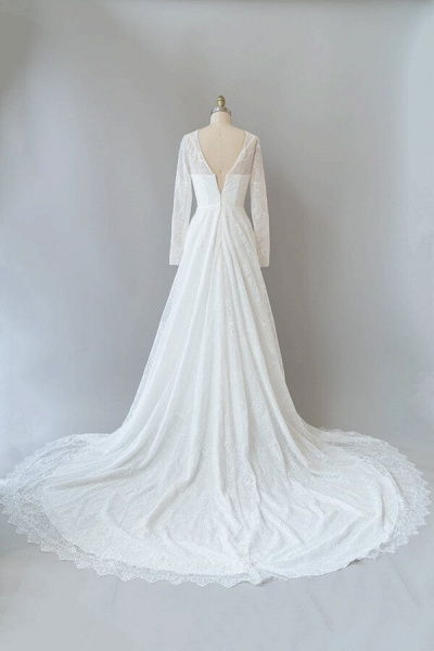 Illusion Long Sleeve Lace A-line Wedding Dress_3