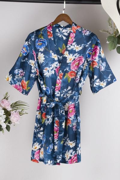Short Sleeve Floral Print Bridesmaid Bridal Robes_24