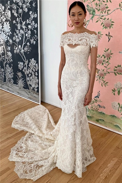 Mermaid Lace Off-the-shoulder Formal Dresses|Backless Wedding Gowns_1