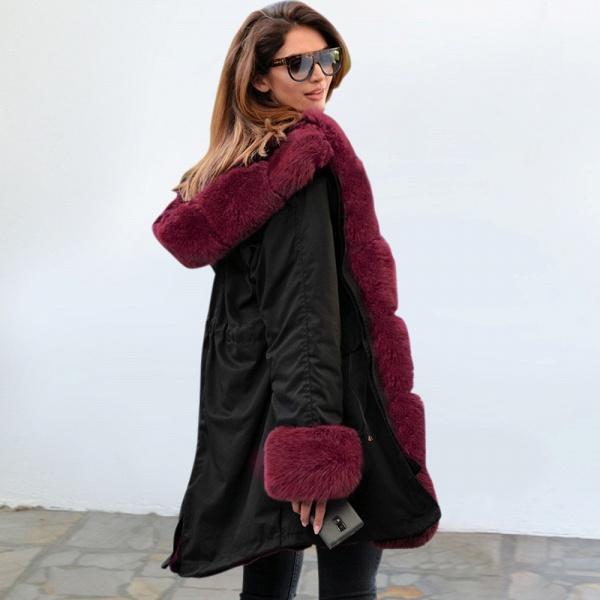 Winter Faux Fur-trimmed Long-length Overcoat_17