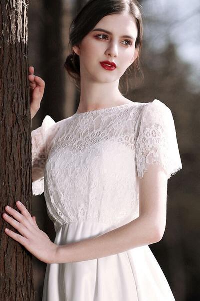 Short Sleeve Lace A-line Short Wedding Dress_10