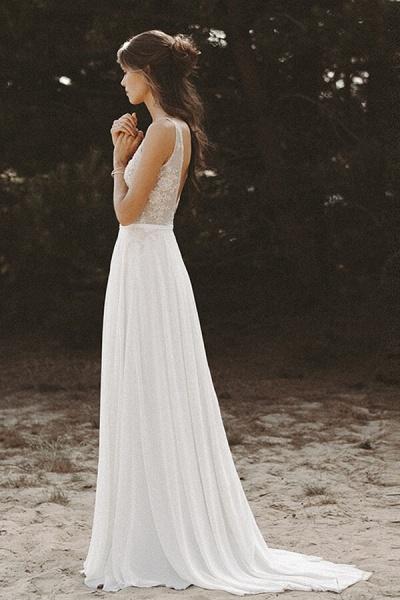 V-neck Lace Beading Chiffon A-line Wedding Dress_4