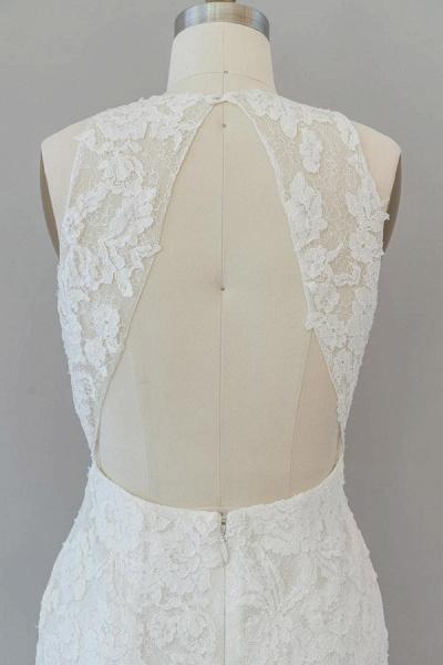 Awesome Illusion Lace Mermaid Wedding Dress_8