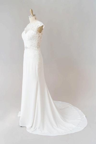 Cap Sleeve Illusion Lace Sheath Wedding Dress_4