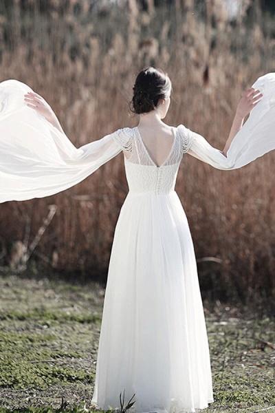 Eye-catching Beading Chiffon A-line Wedding Dress_3