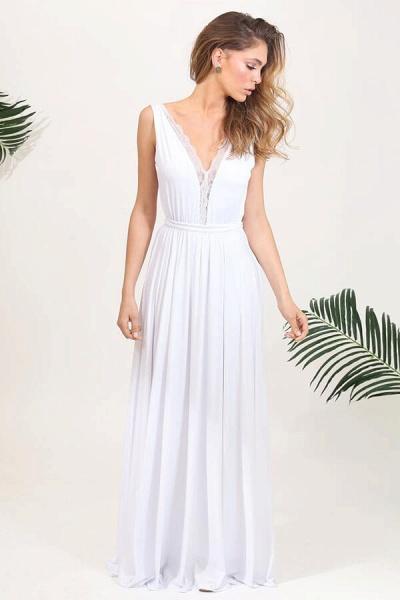 Open Back V-neck Lace Chiffon A-line Wedding Dress_2