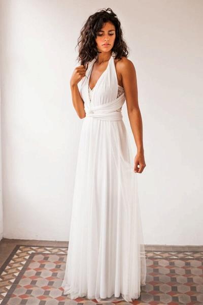 Criss Cross Lace Chiffon Sheath Wedding Dress_1