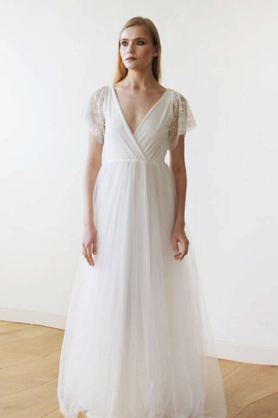 V-neck Short Sleeve Lace Tulle A-line Wedding Dress_4