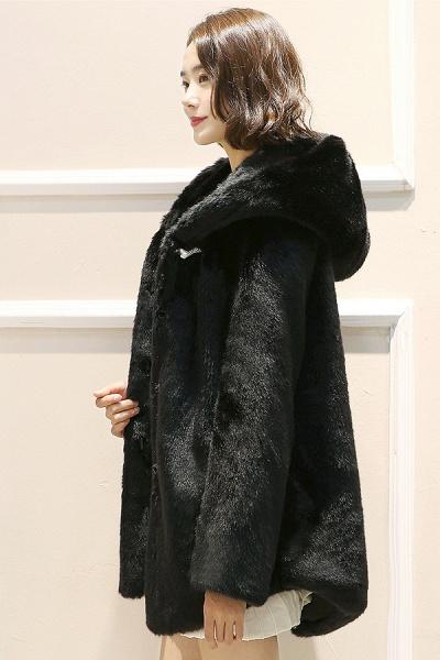 Hooded Daily Basic Club Faux Fur Coat_4