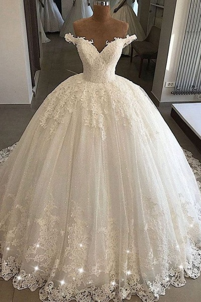 Off-the-shoulder Lace Tulle Ball Gowns_1