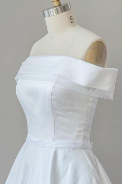 Graceful Off Shoulder Satin Ball Gown Wedding Dress_6
