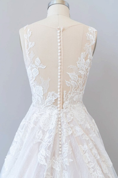 Illusion Appliques Tulle A-line Wedding Dress_8