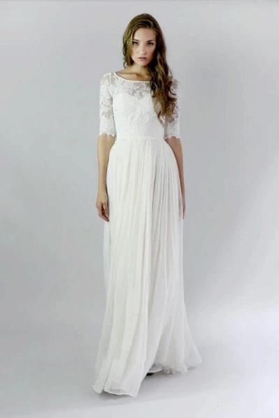 Affordable Lace Chiffon Floor Length Wedding Dress_1