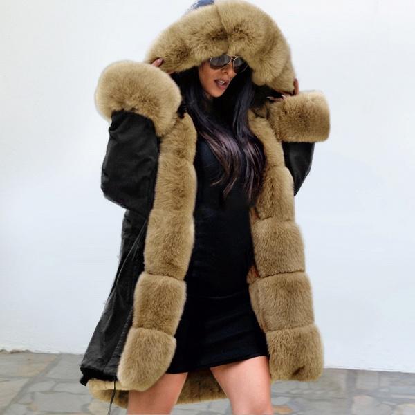Winter Faux Fur-trimmed Long-length Overcoat_30