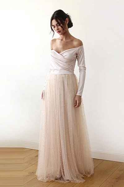 Long Sleeve Off The Shoulder Tulle Wedding Dress_5