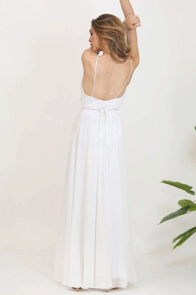 Front Slit Appliques Chiffon A-line Wedding Dress_5