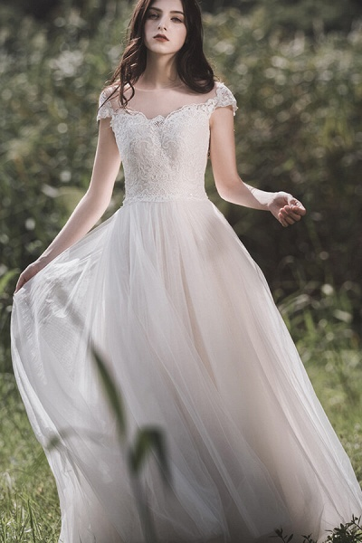 Awesome Cap Sleeve Lace Tulle A-line Wedding Dress_1