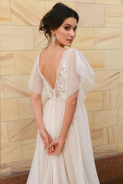 Polka Dot Appliques Tulle A-line Wedding Dress_5