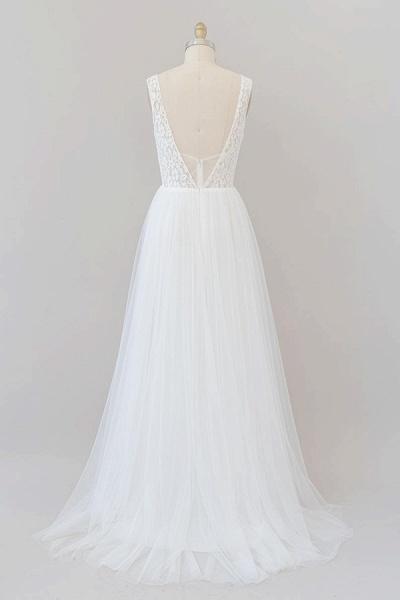 Open Back V-neck Lace Tulle A-line Wedding Dress_3