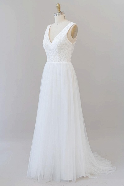 Open Back V-neck Lace Tulle A-line Wedding Dress_4
