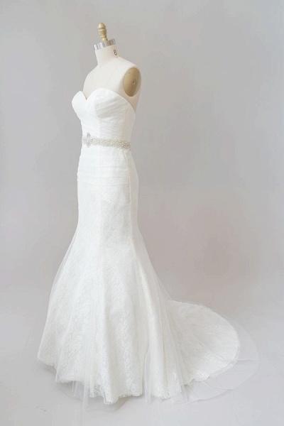 Awesome Ruffle Strapless Lace Sheath Wedding Dress_4