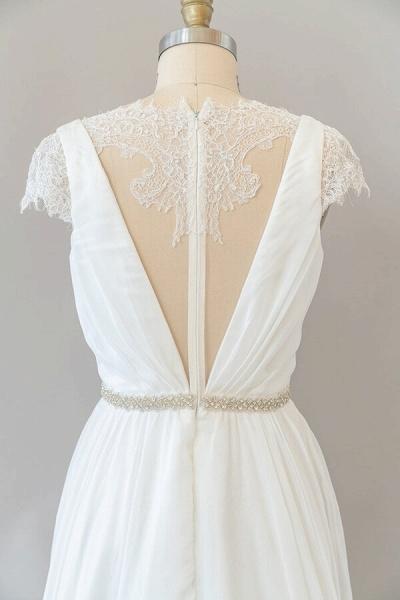 Cap Sleeve V-neck Lace Chiffon Sheath Wedding Dress_7