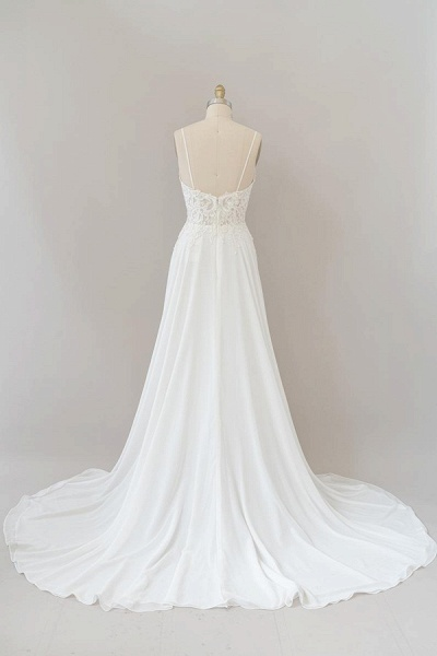 Spaghetti Strap Appliques Chiffon Wedding Dress_3