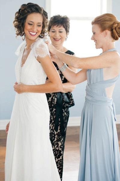 Cap Sleeve Ruffle Lace Chiffon Sheath Wedding Dress_5