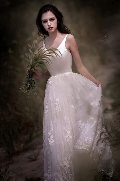 Awesome V-neck Lace Tulle A-line Wedding Dress_4