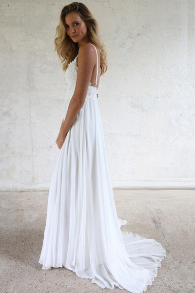 Appliques Spaghetti Strap Chiffon Wedding Dress_6