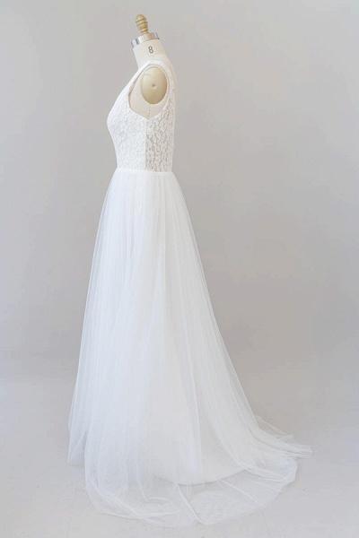 Open Back V-neck Lace Tulle A-line Wedding Dress_5