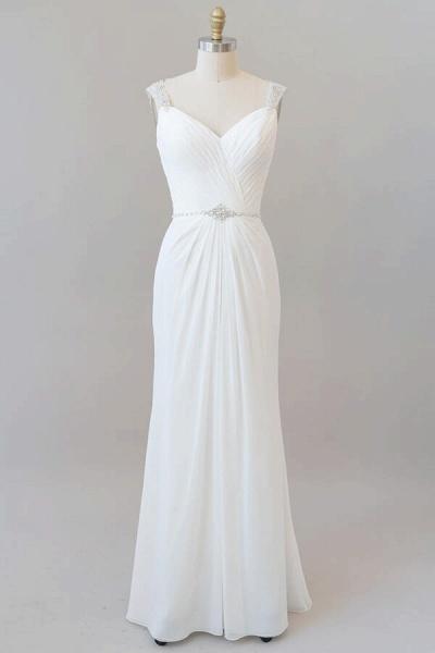Elegant Ruffle Beading Chiffon Sheath Wedding Dress_1