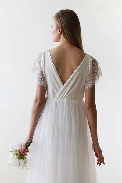 V-neck Short Sleeve Lace Tulle A-line Wedding Dress_3