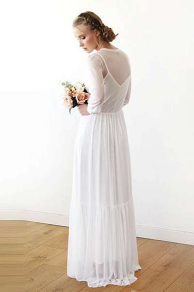 Graceful Long Sleeve V-neck Chiffon Wedding Dress_5