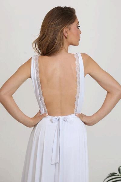 Open Back V-neck Lace Chiffon A-line Wedding Dress_11